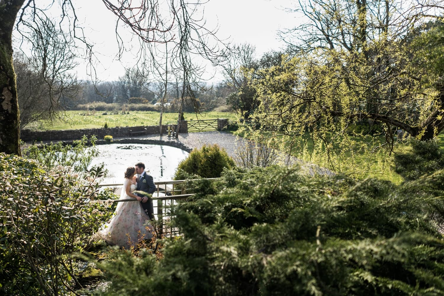 Bride and groom portraits at King Arthur Hotel in South Wales