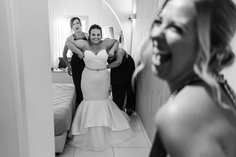Santorini Wedding Photography, bride getting dressed