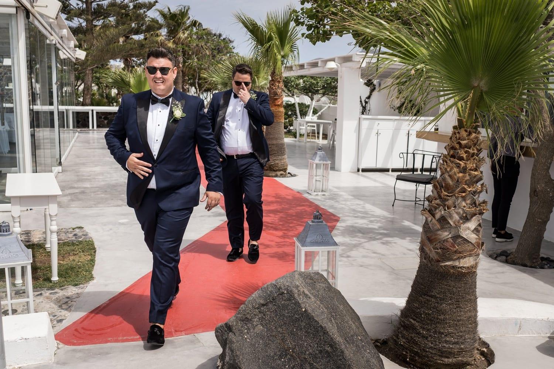 Santorini Wedding Photography, groom arriving at Gem Villa