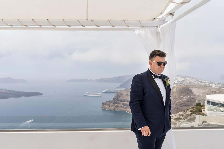 Santorini Wedding Photography, groom waiting at Gem Villa
