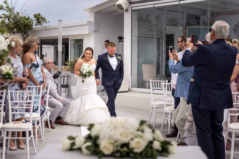 Santorini Wedding Photography, bride arriving at Gem Villa
