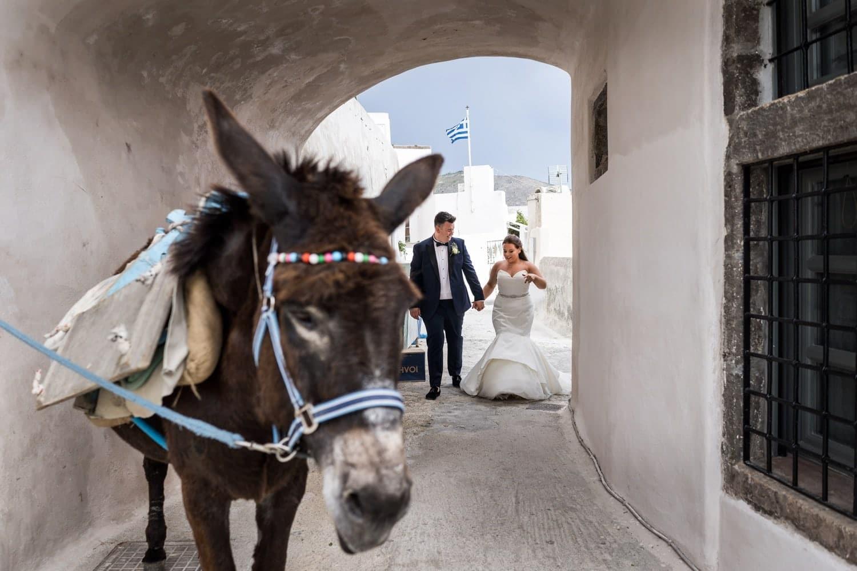 Santorini Wedding Photography at Pyrgos village with donkey