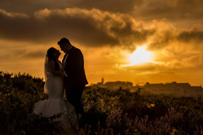 Santorini Wedding Photography in vineyard at sunset