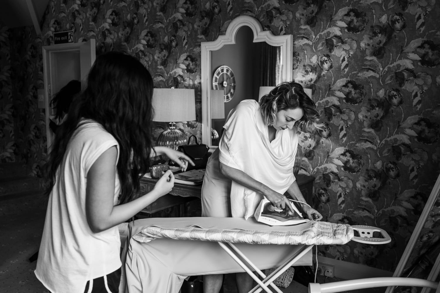 Bridemaids ironing at St Audries Park