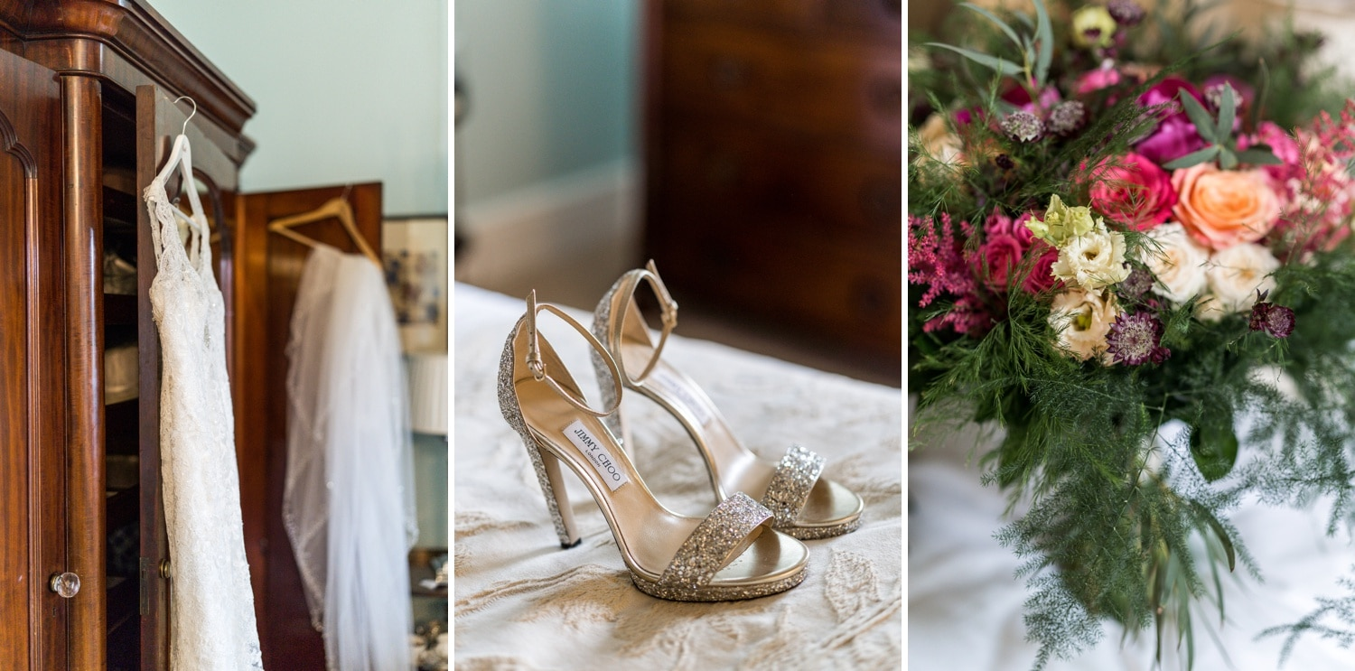Bride's shoes at Llangoed Hall wedding