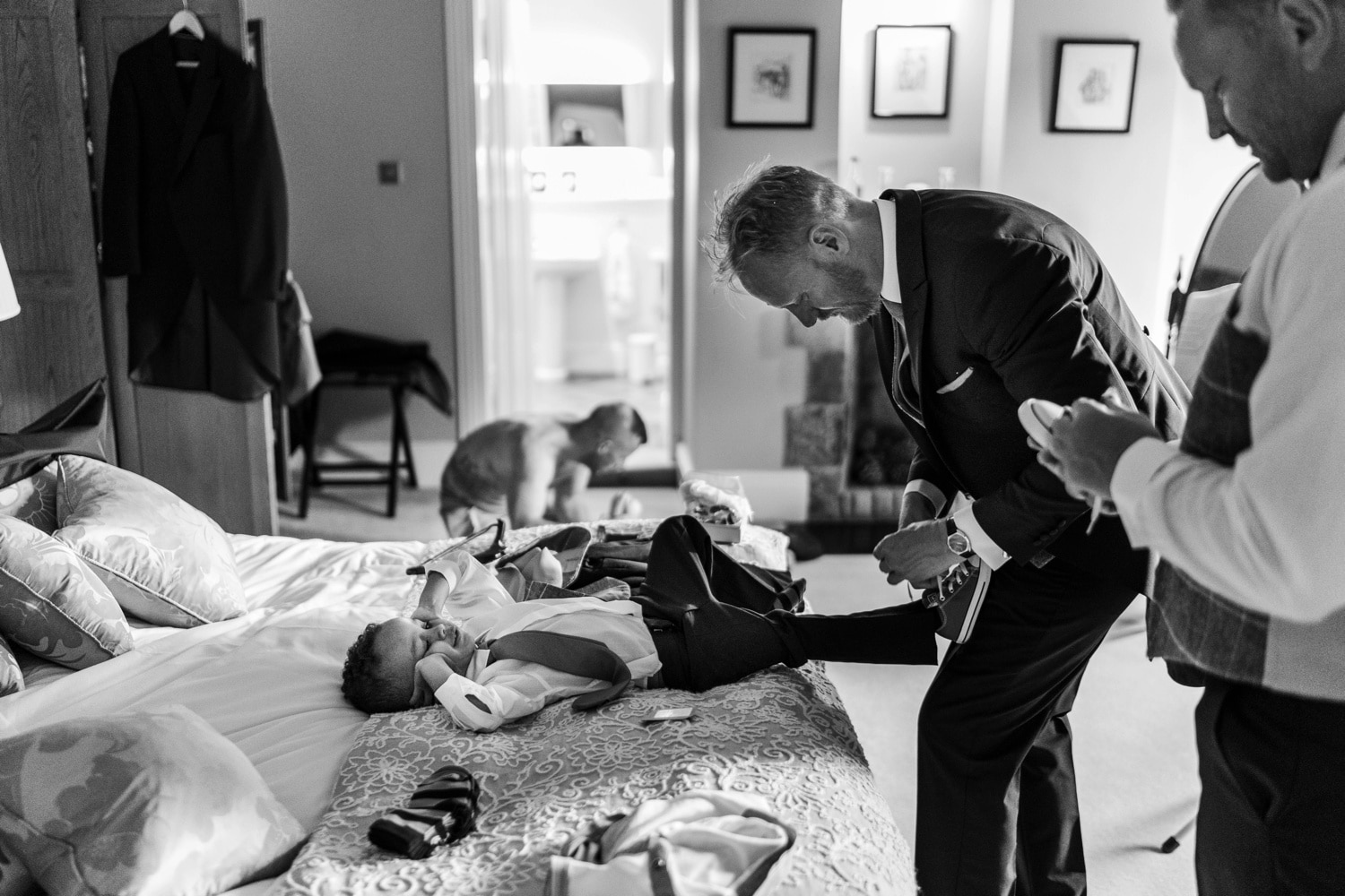 Groom's preparations at a Llangoed Hall wedding
