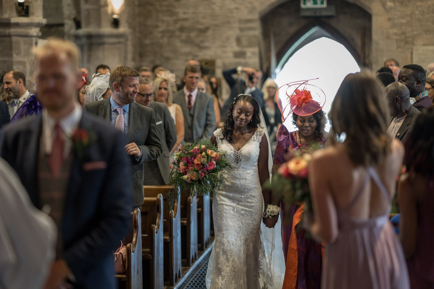 Bride arriving at St Edmund's Church in Crickhowell, South Wales