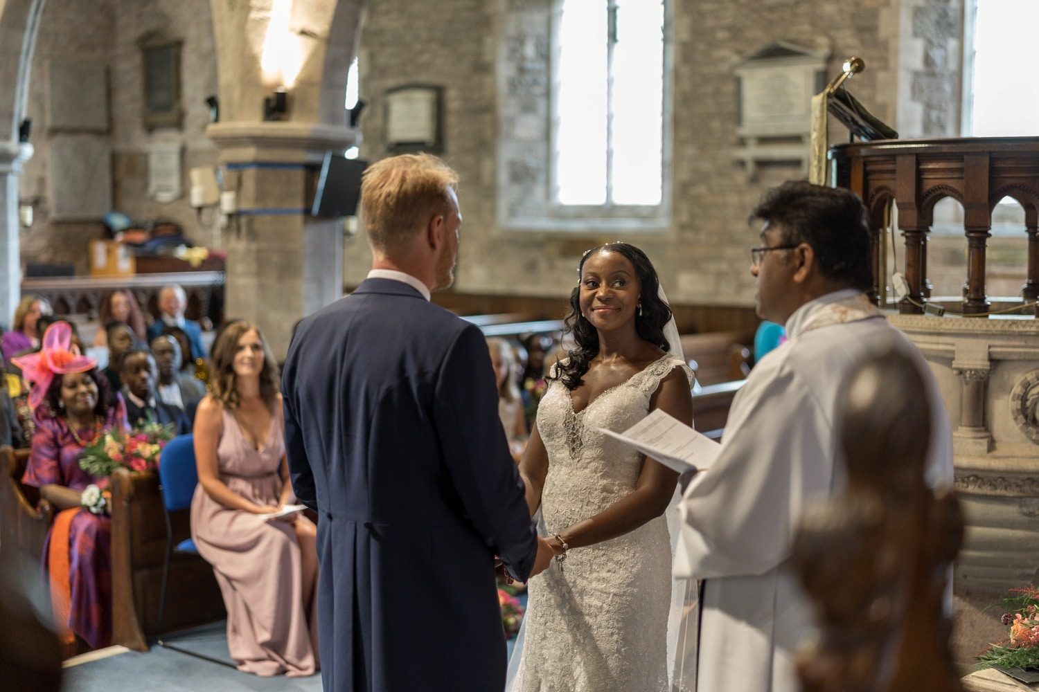 Marriage ceremony at St Edmund's Church in Crickhowell, South Wales