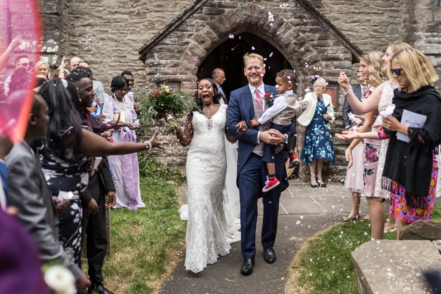 Confetti at St Edmund's Church in Crickhowell, South Wales