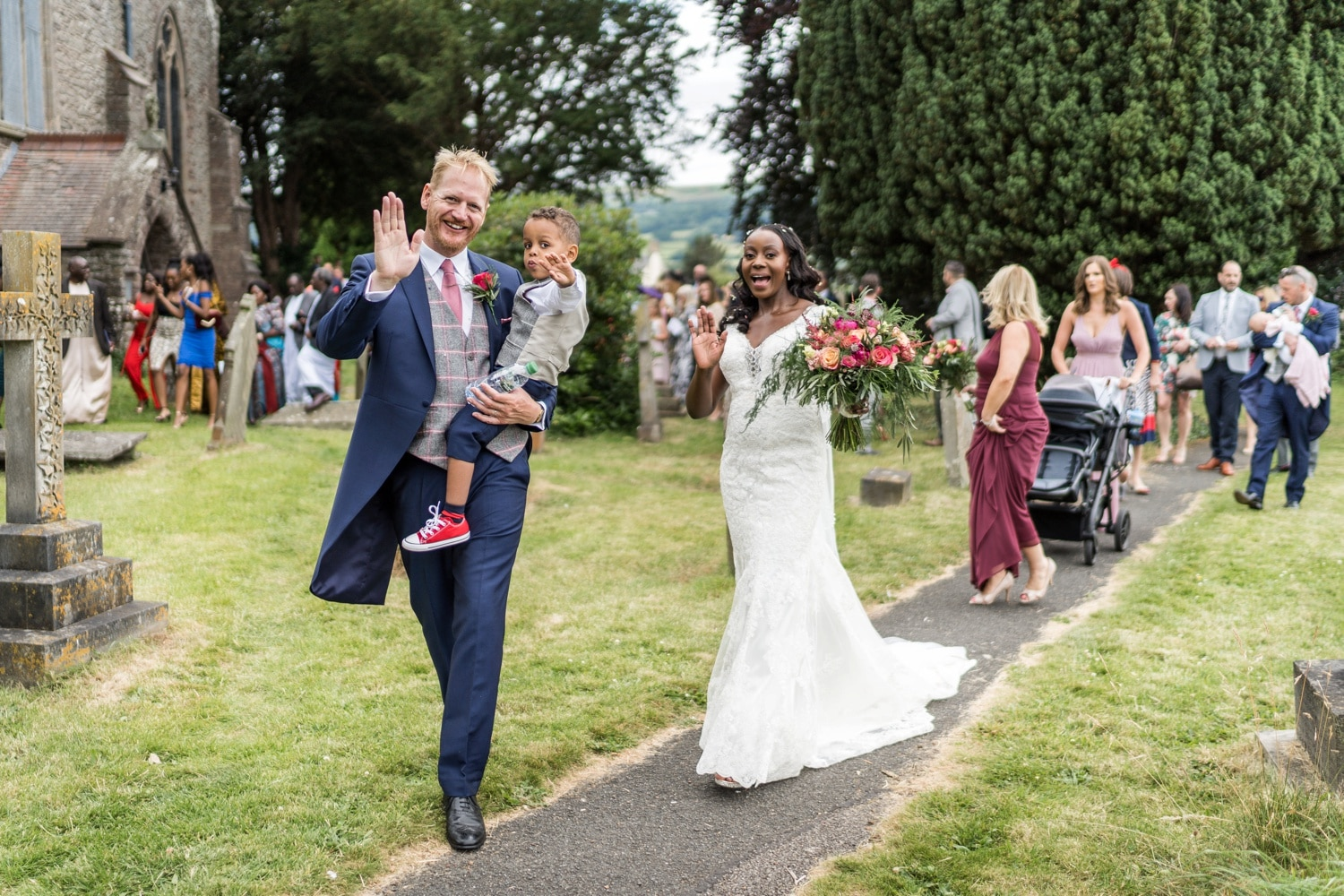 Wedding at St Edmund's Church in Crickhowell, South Wales