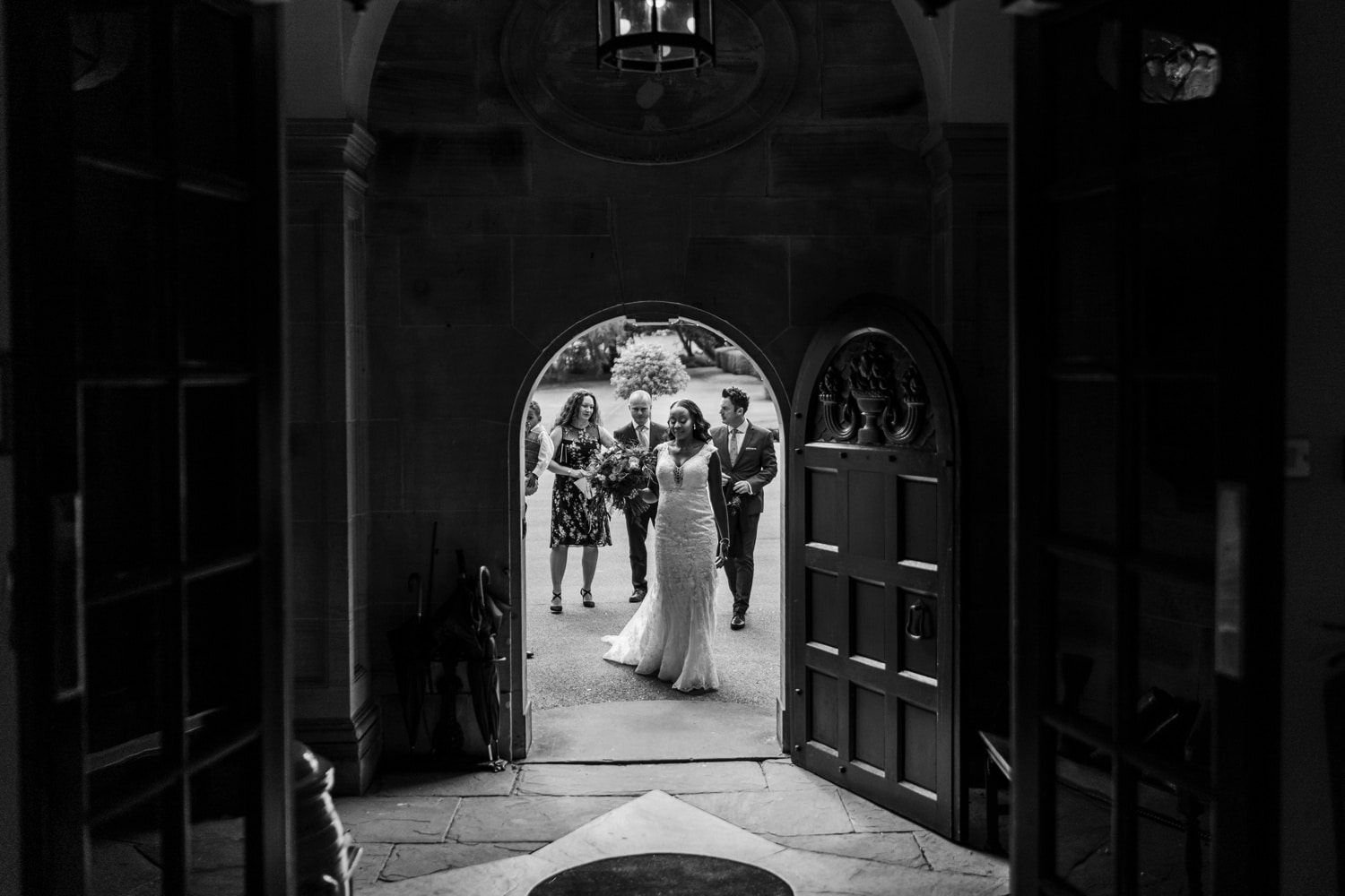 Bride arrives at Llangoed Hall in Wales