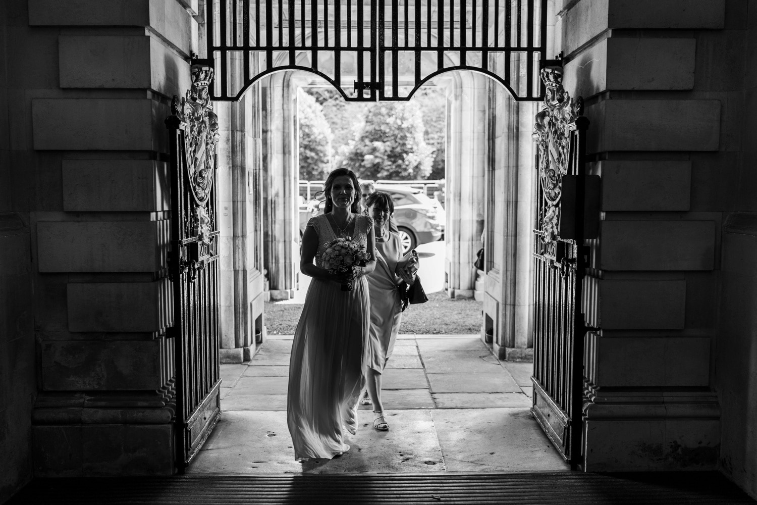 Bride arrives for wedding at Cardiff City Hall