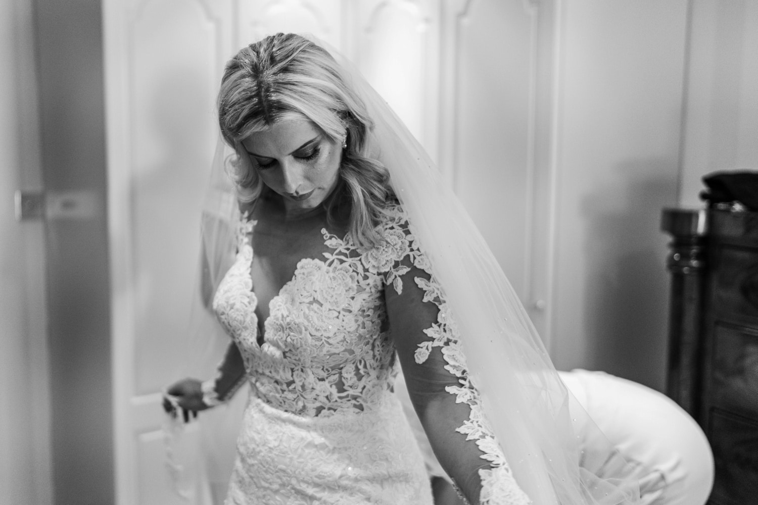 South Wales bride having dress fitted