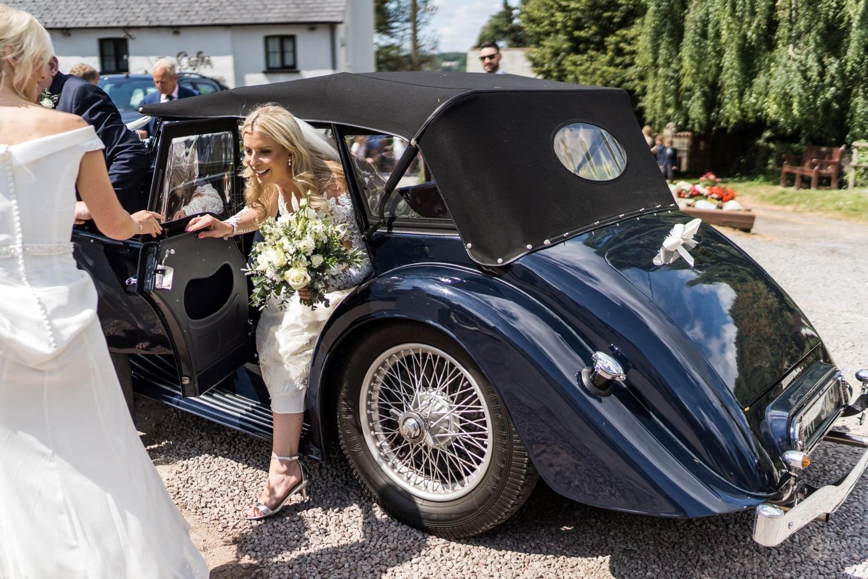 South Wales bride arrives in vintage car