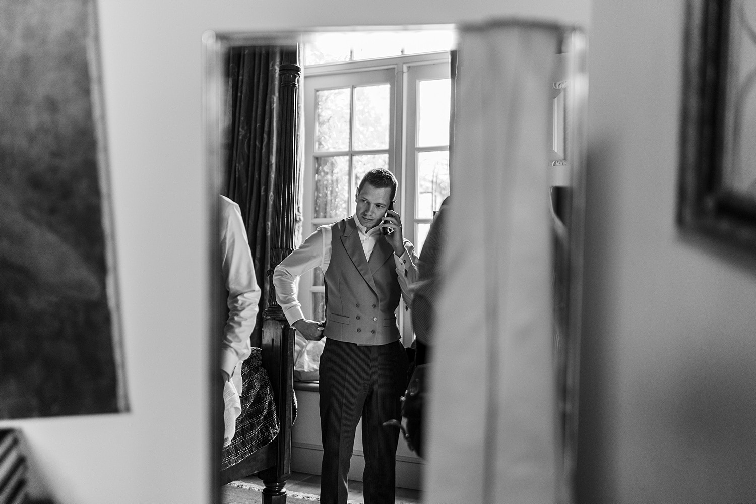 Groom getting ready at Euridge Orangery