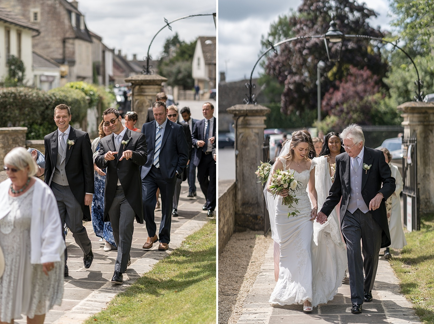 Bride and groom arriving at Colerne Church