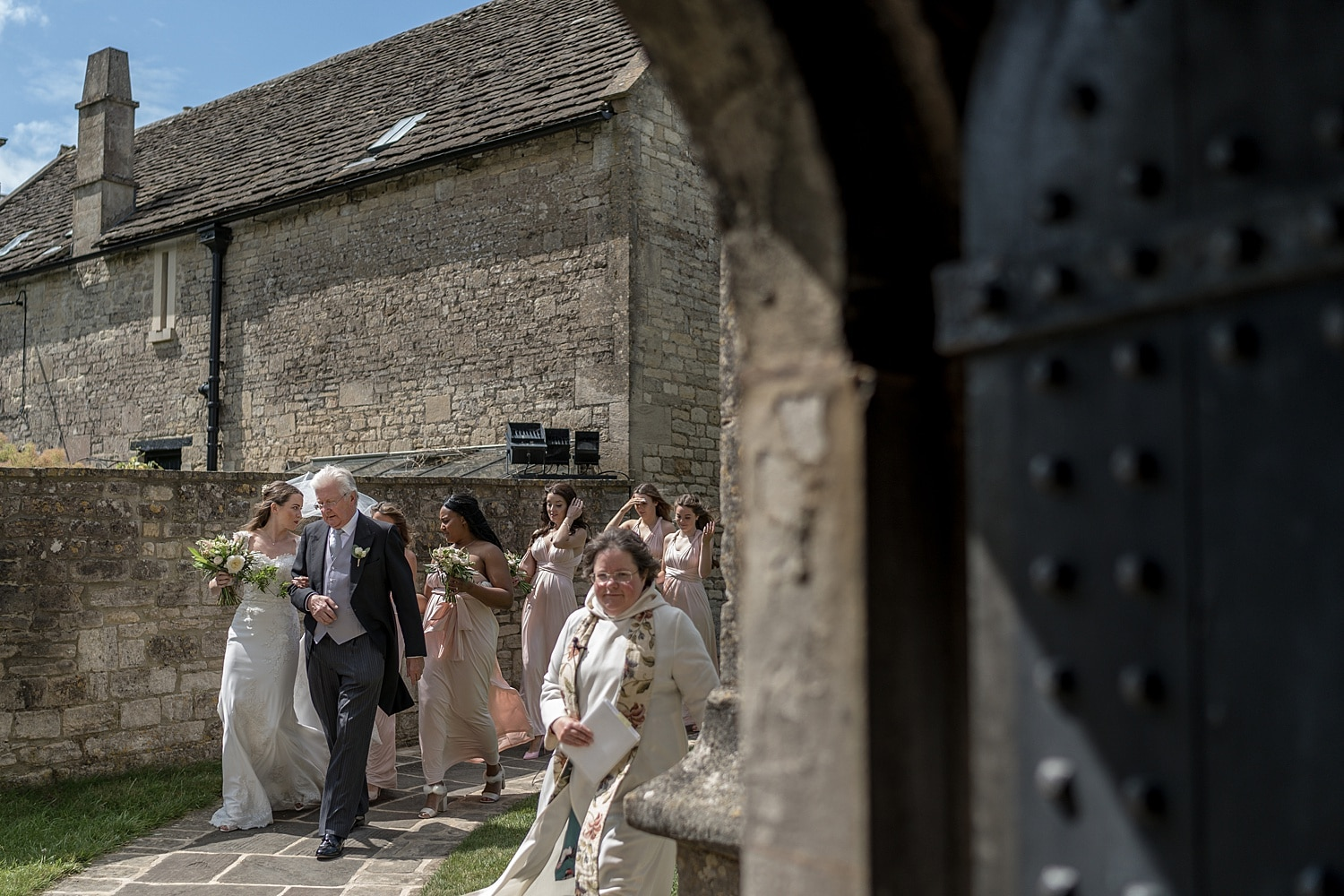 Bride arrives Colerne Church
