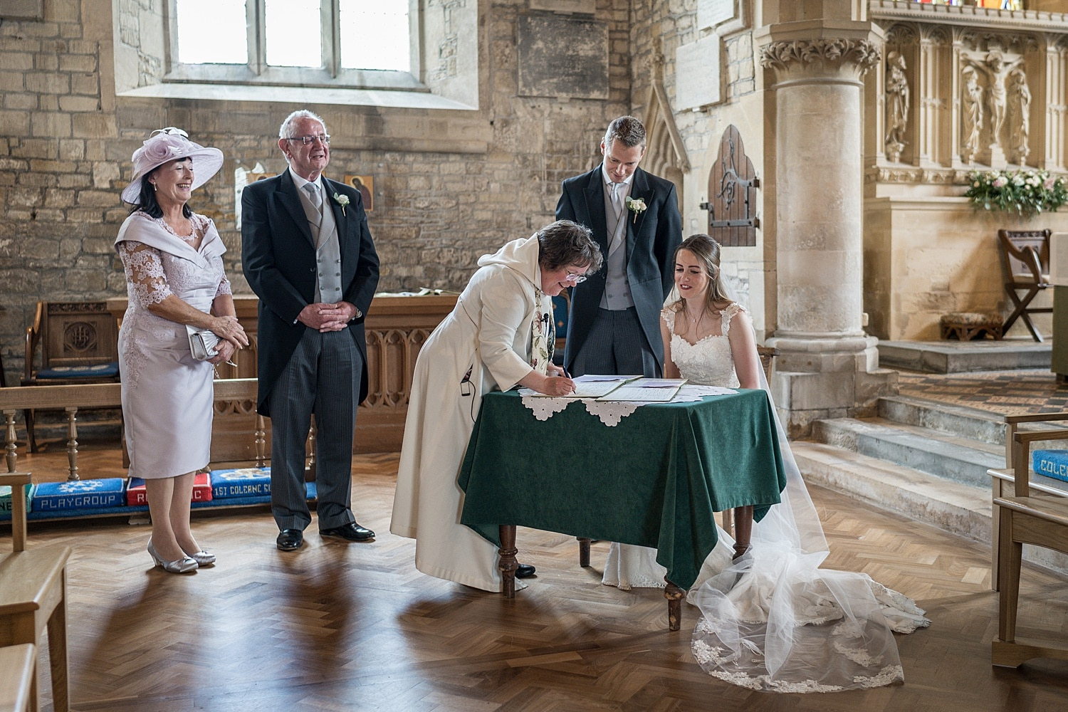 Marriage ceremony at Colerne Church