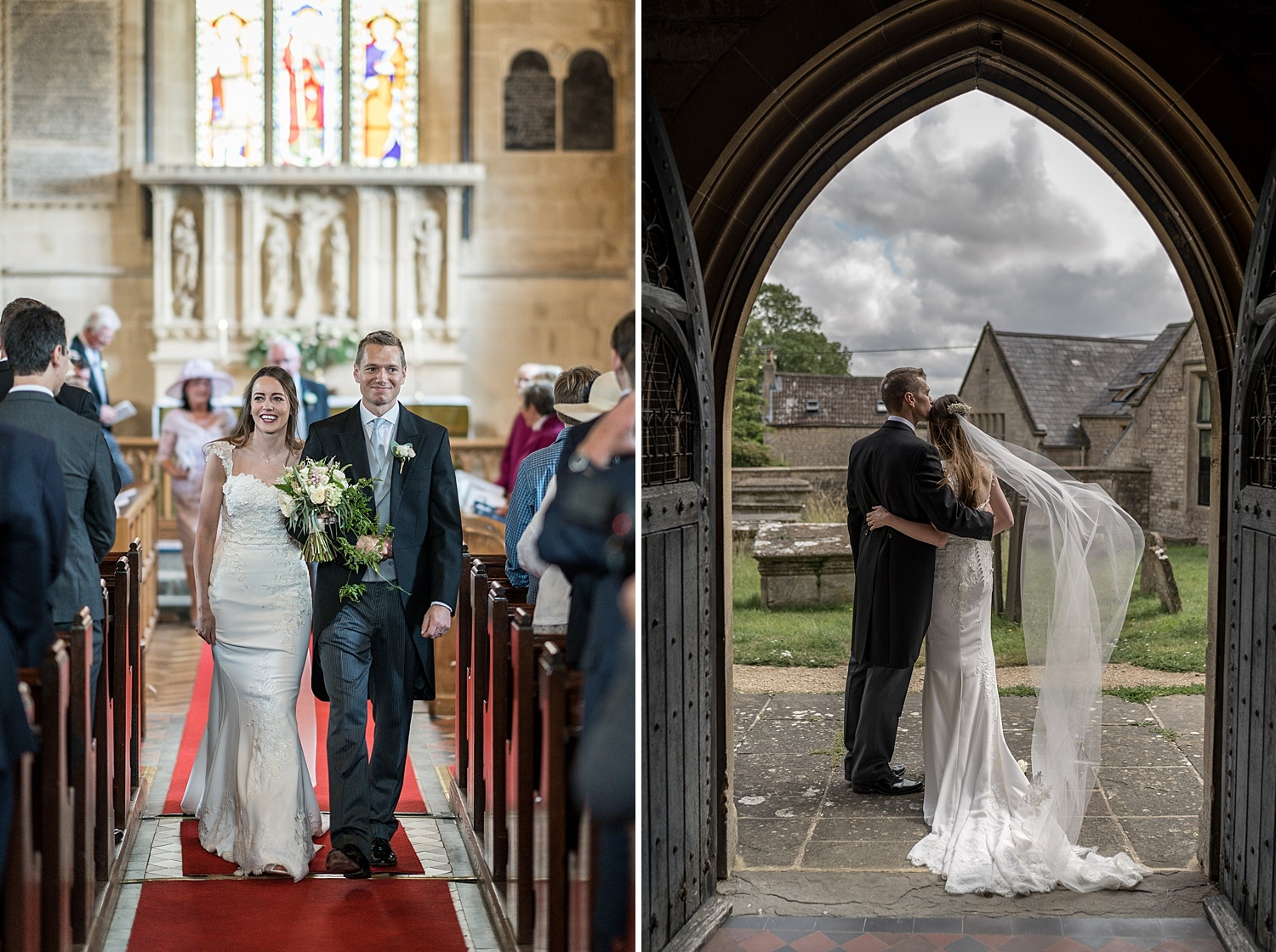 Bride and groom walking down the aisle at Colerne Church