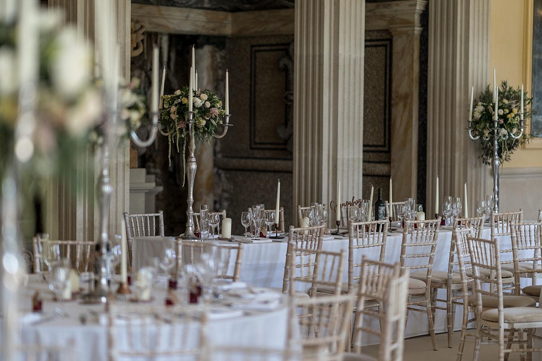 Wedding table decorations at Euridge Orangery