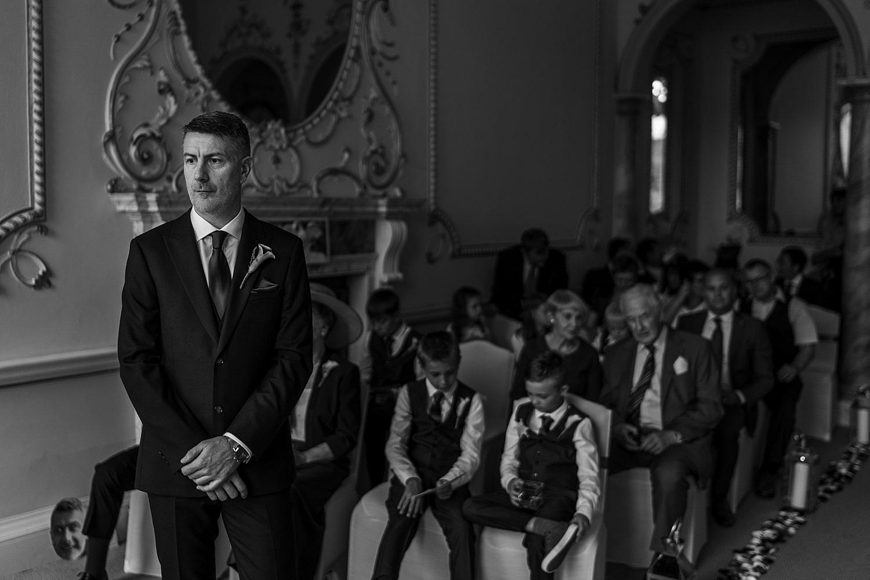 Groom waiting for Nanteos ceremony