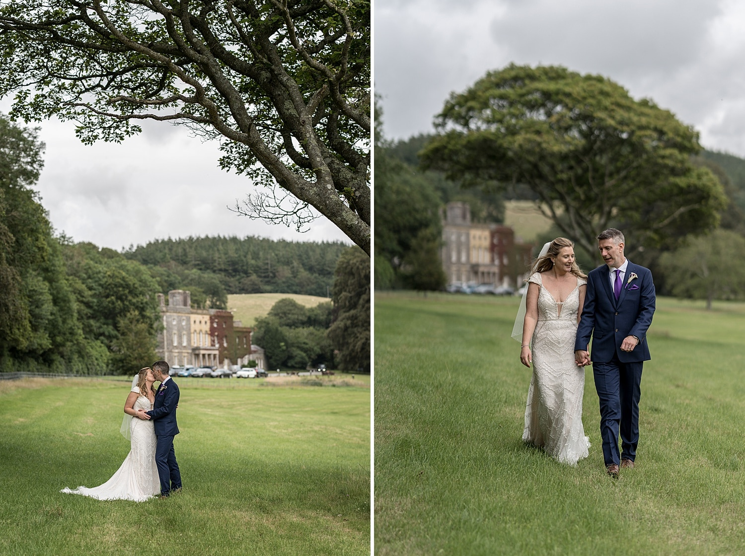 Bride and groom portraits at Nanteos Mansion in West Wales