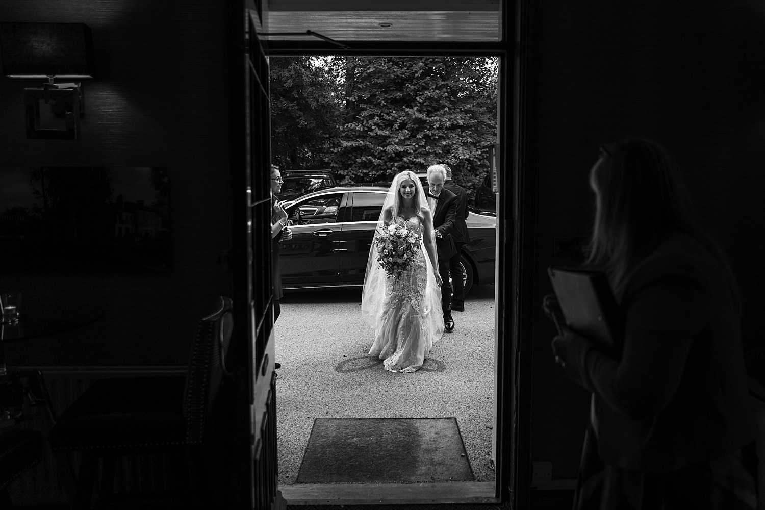 Bride arrives at Fairyhill