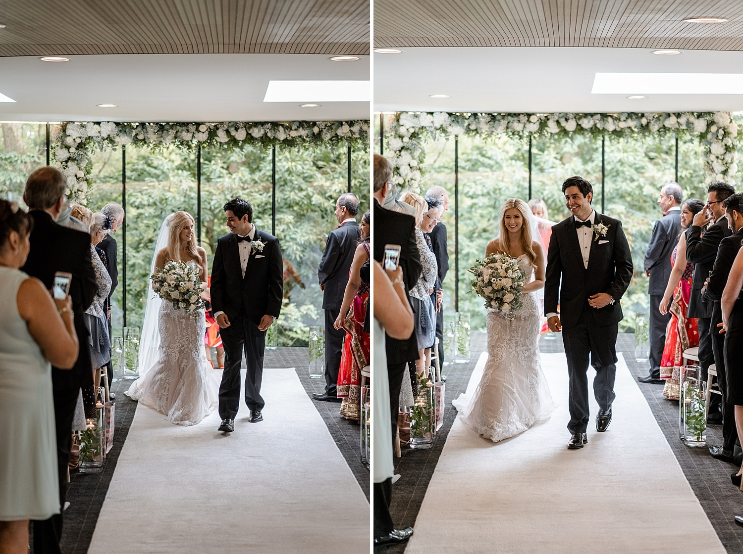 Bride and groom walks down aisle as married couple