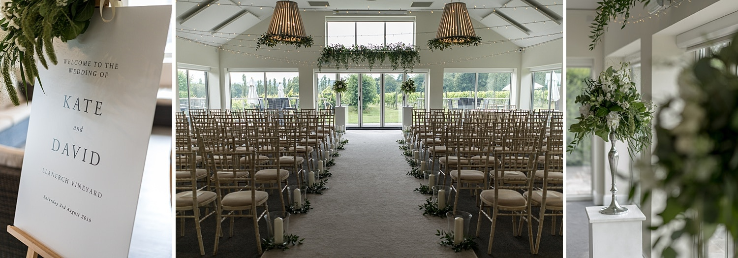 Summer wedding ceremony room at Llanerch Vineyard