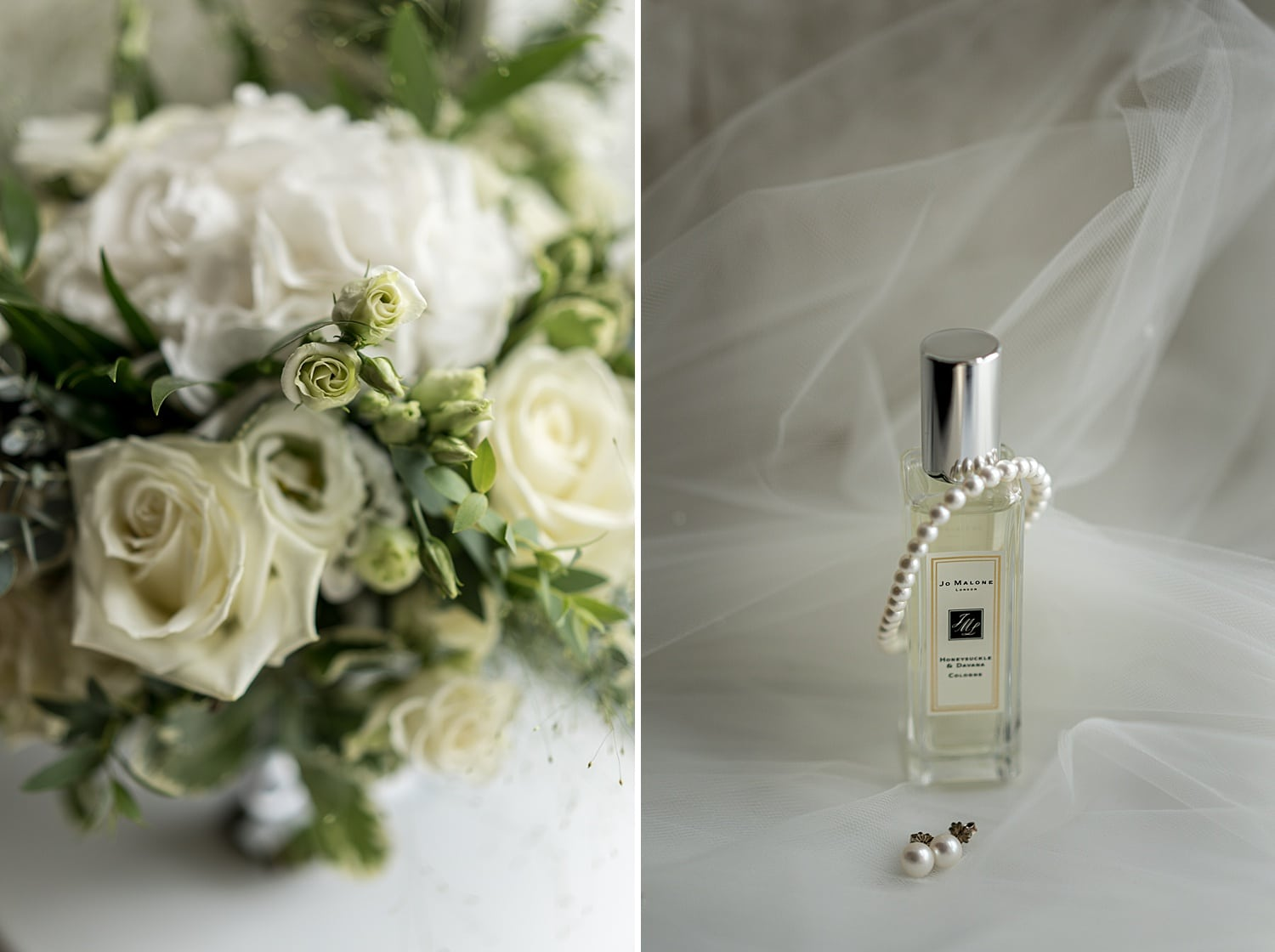 Bridal bouquet and perfume bottle