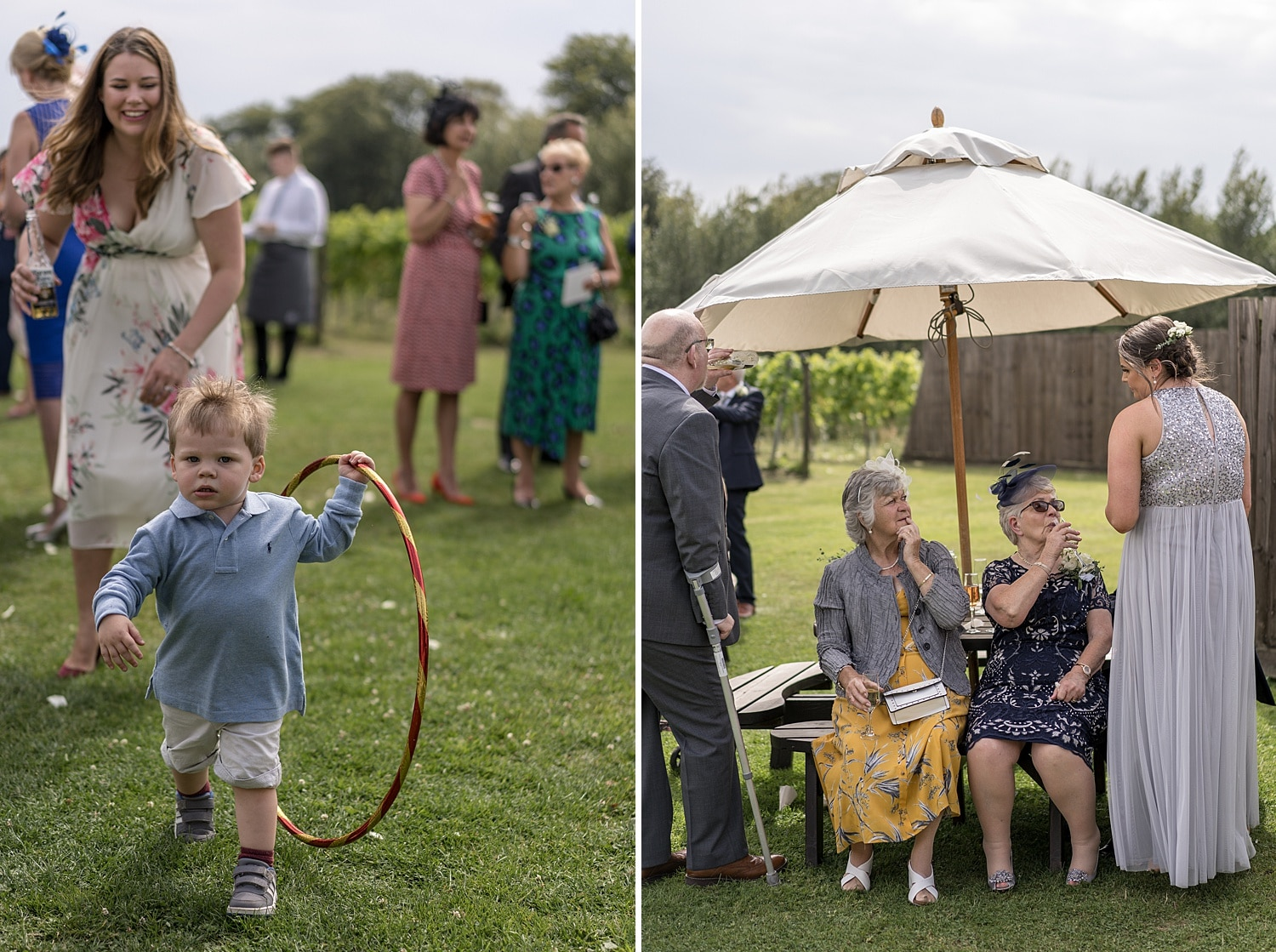 Wedding guest with hula hoop