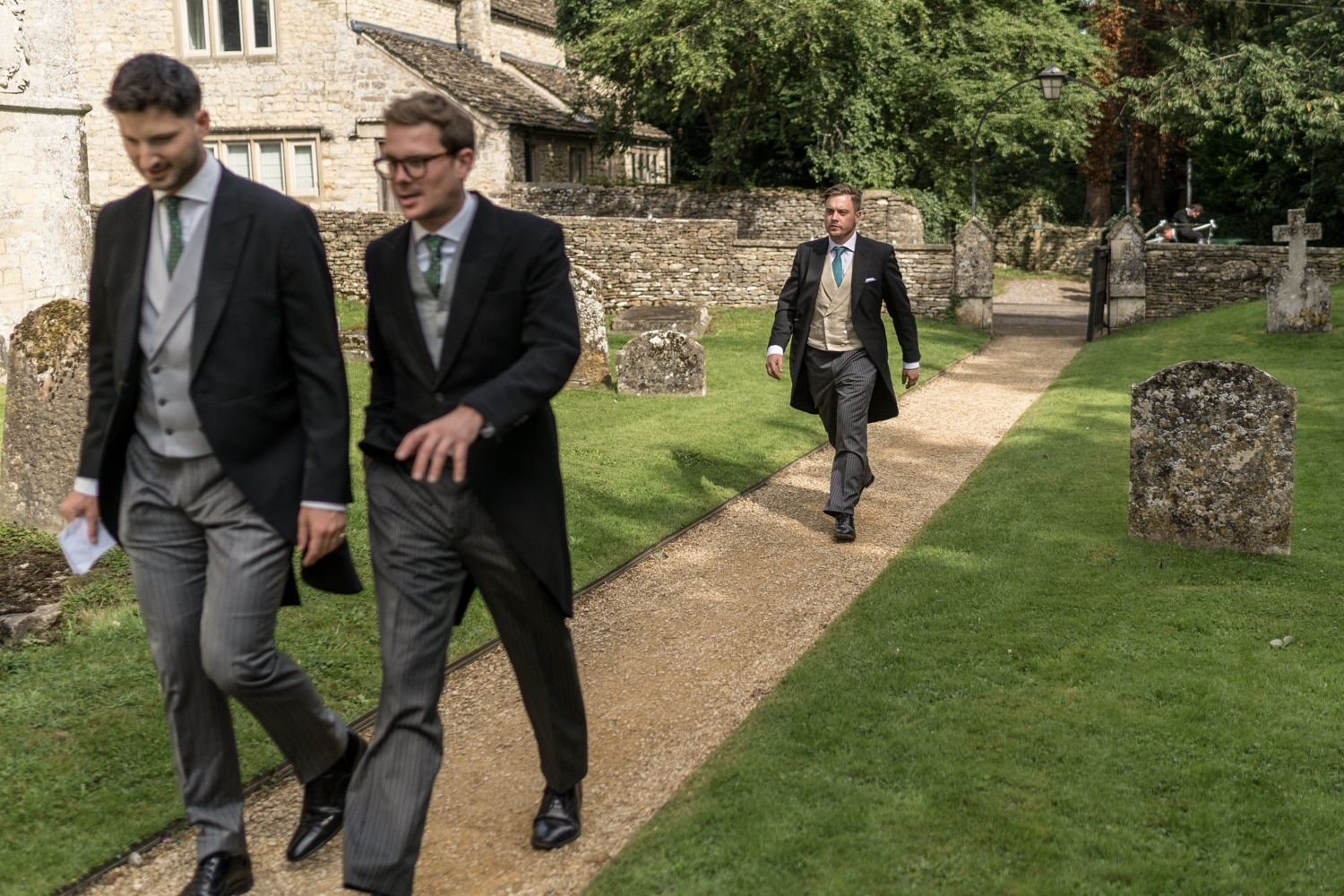 Groom arriving for Cotswold church wedding