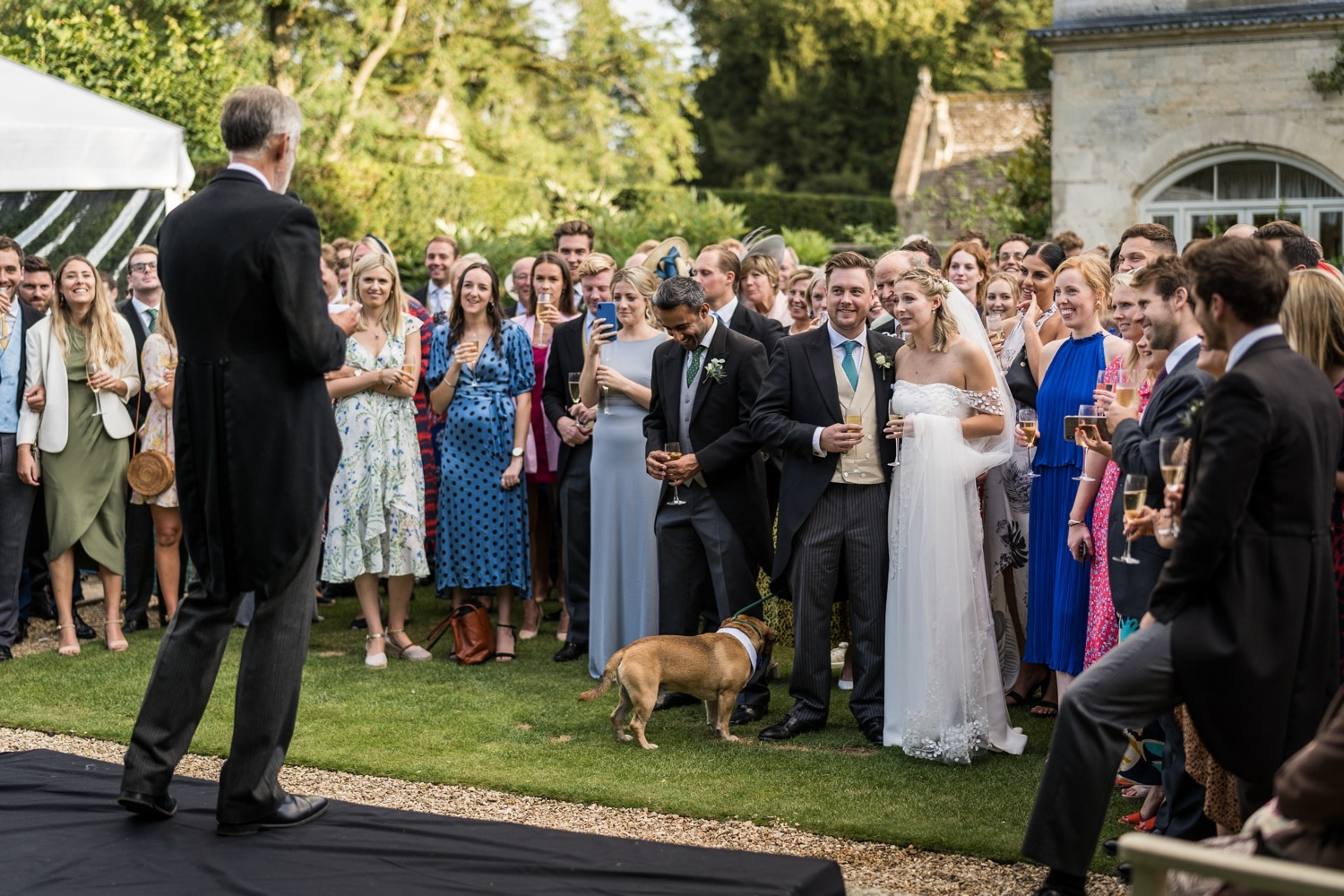 Wedding speeches in the garden