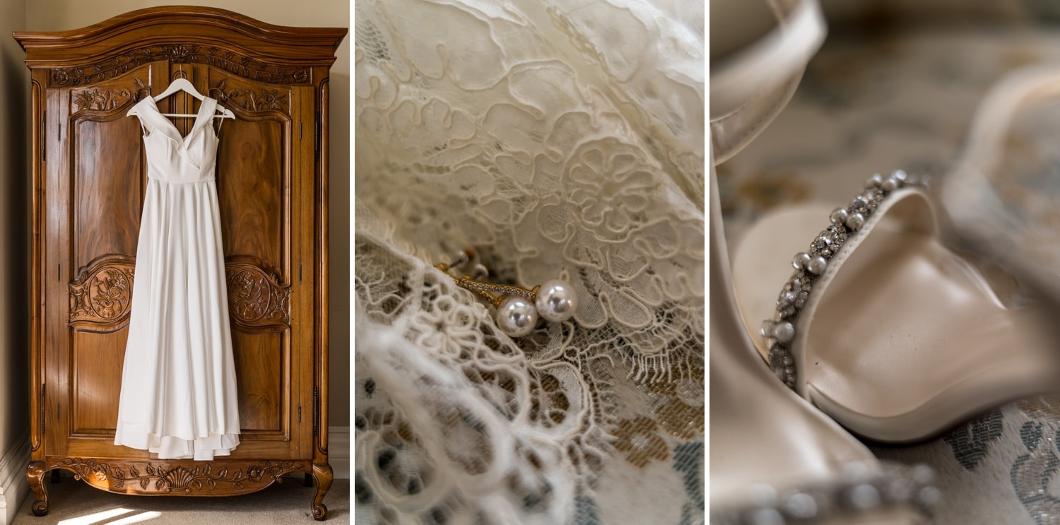 Wedding dress at Orchardleigh House, Somerset