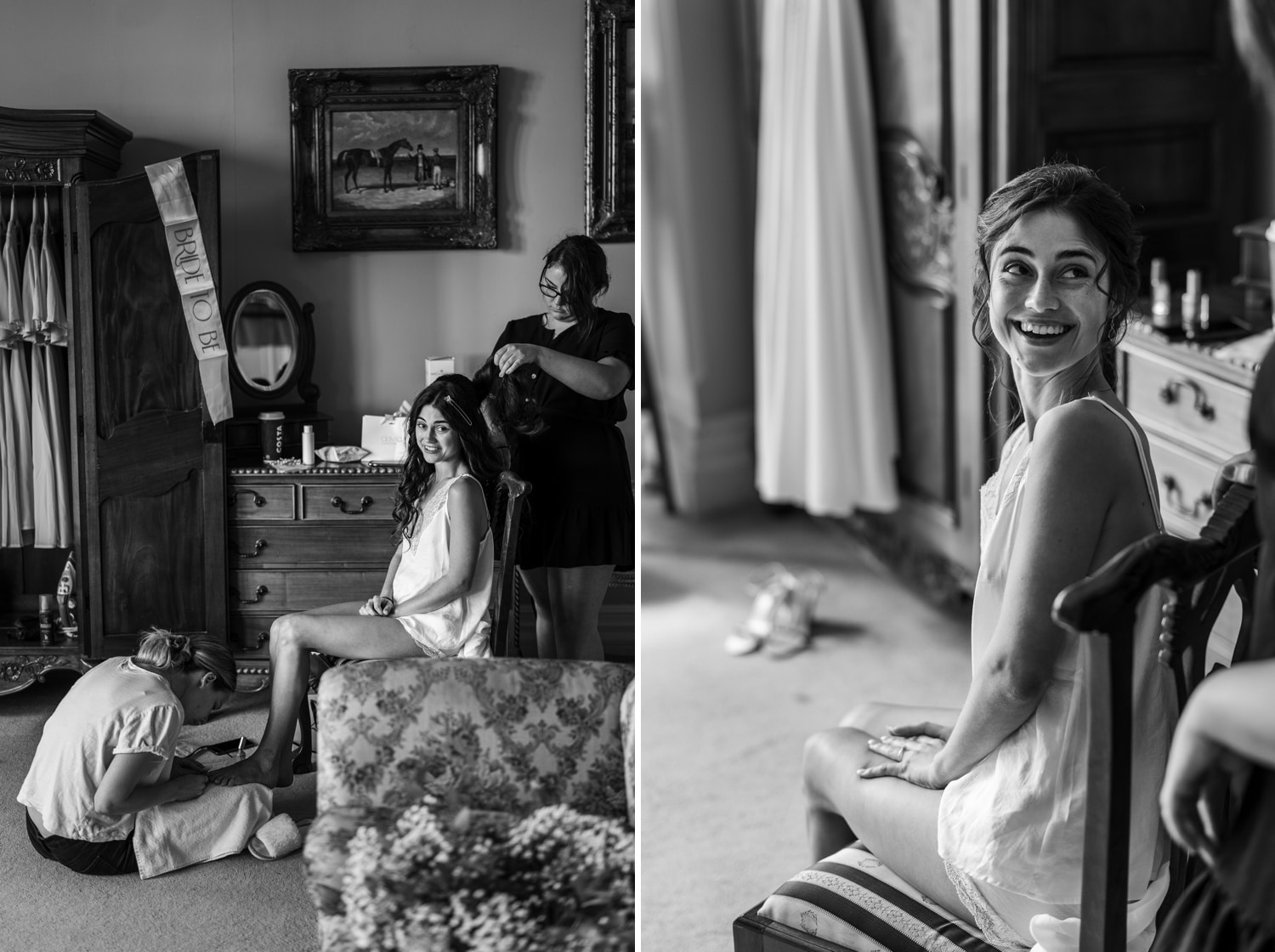 Bridal preparations at Orchardleigh House, Somerset