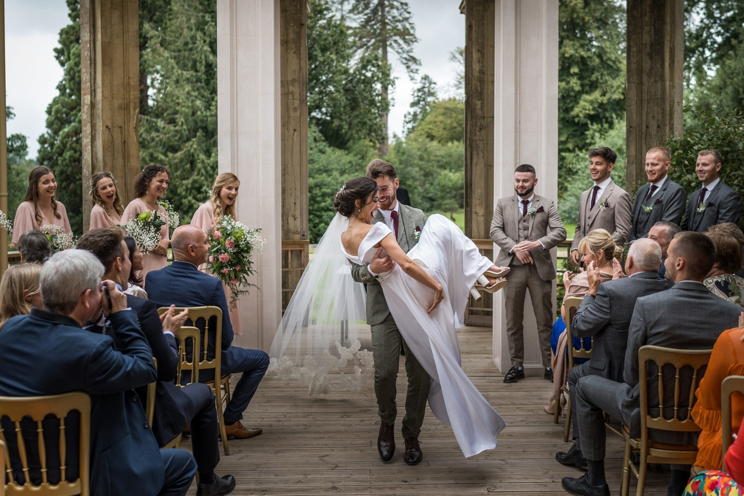Outside wedding ceremony at Orchardleigh House, Somerset