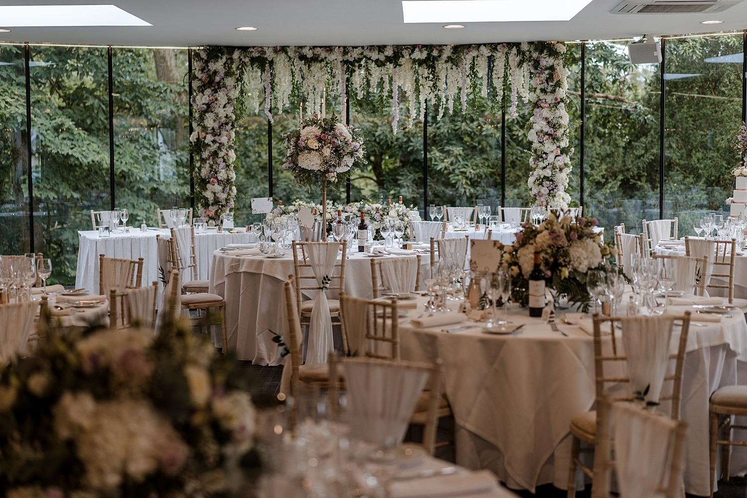 Wedding breakfast room decorations at Fairyhill, South Wales