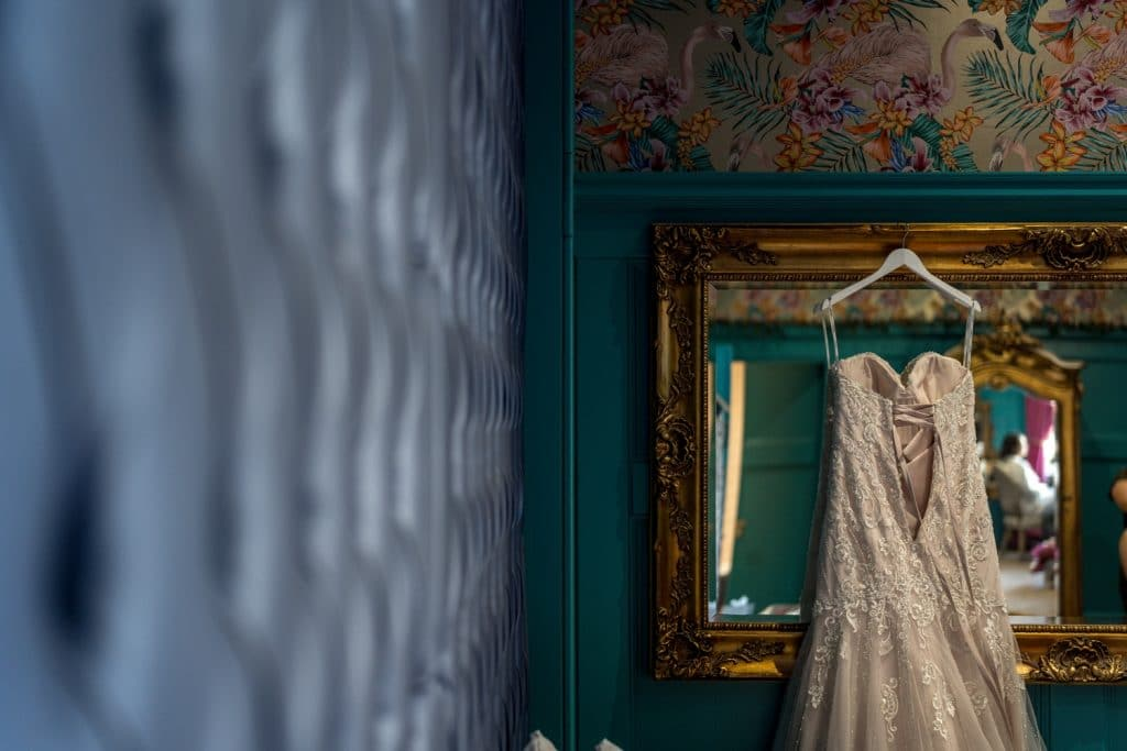 Wedding dress hanging up at Cardiff Coal Exchange