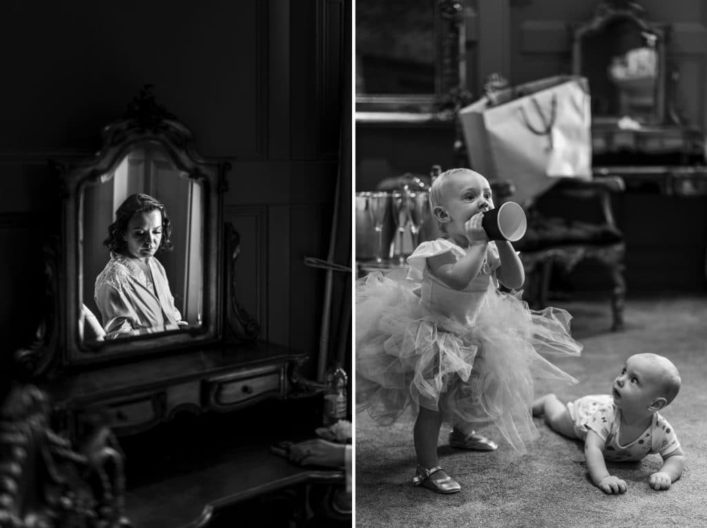 Bride in the mirror and babys playing