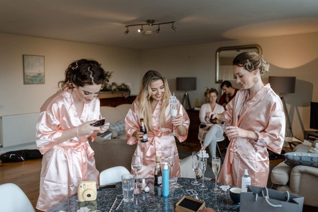 Bridesmaids prep for Oxwich Bay wedding