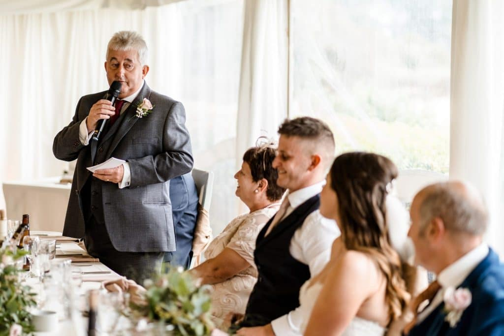 Wedding speeches at Oxwich Bay