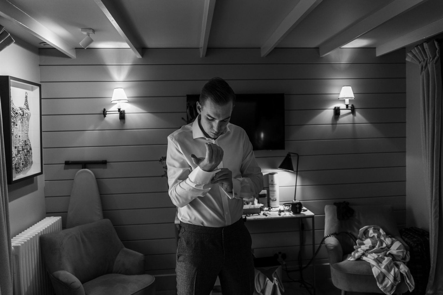 Groom prep at The Gallivant, Camber Sands, Sussex