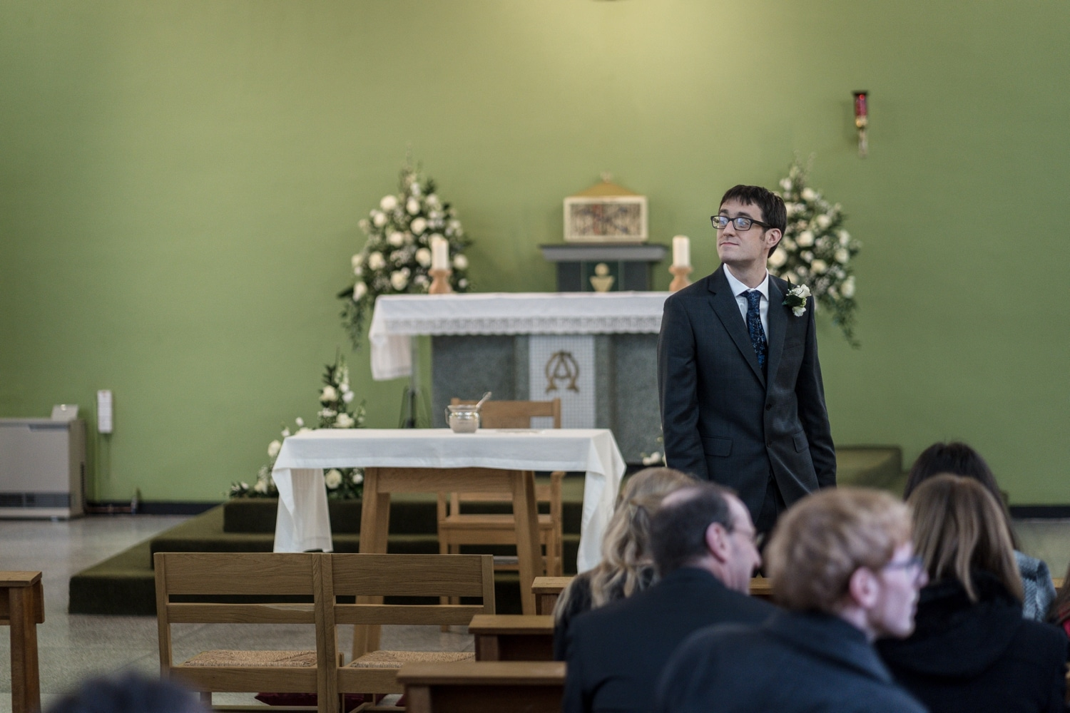 Groom waiting at St Brigid's Church, Cardiff