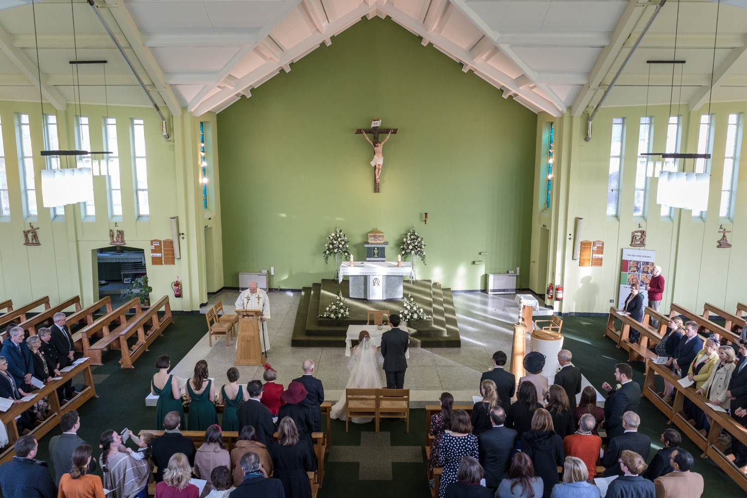 Marriage ceremony at St Brigid's Church, Cardiff