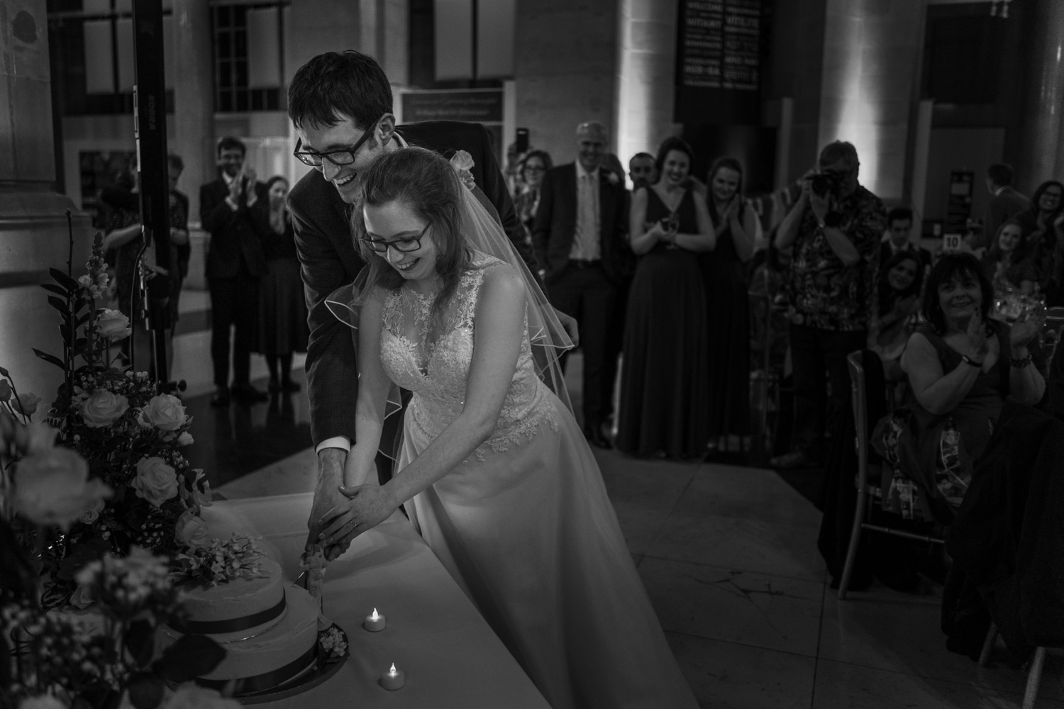 Cake cutting at Cardiff Museum wedding