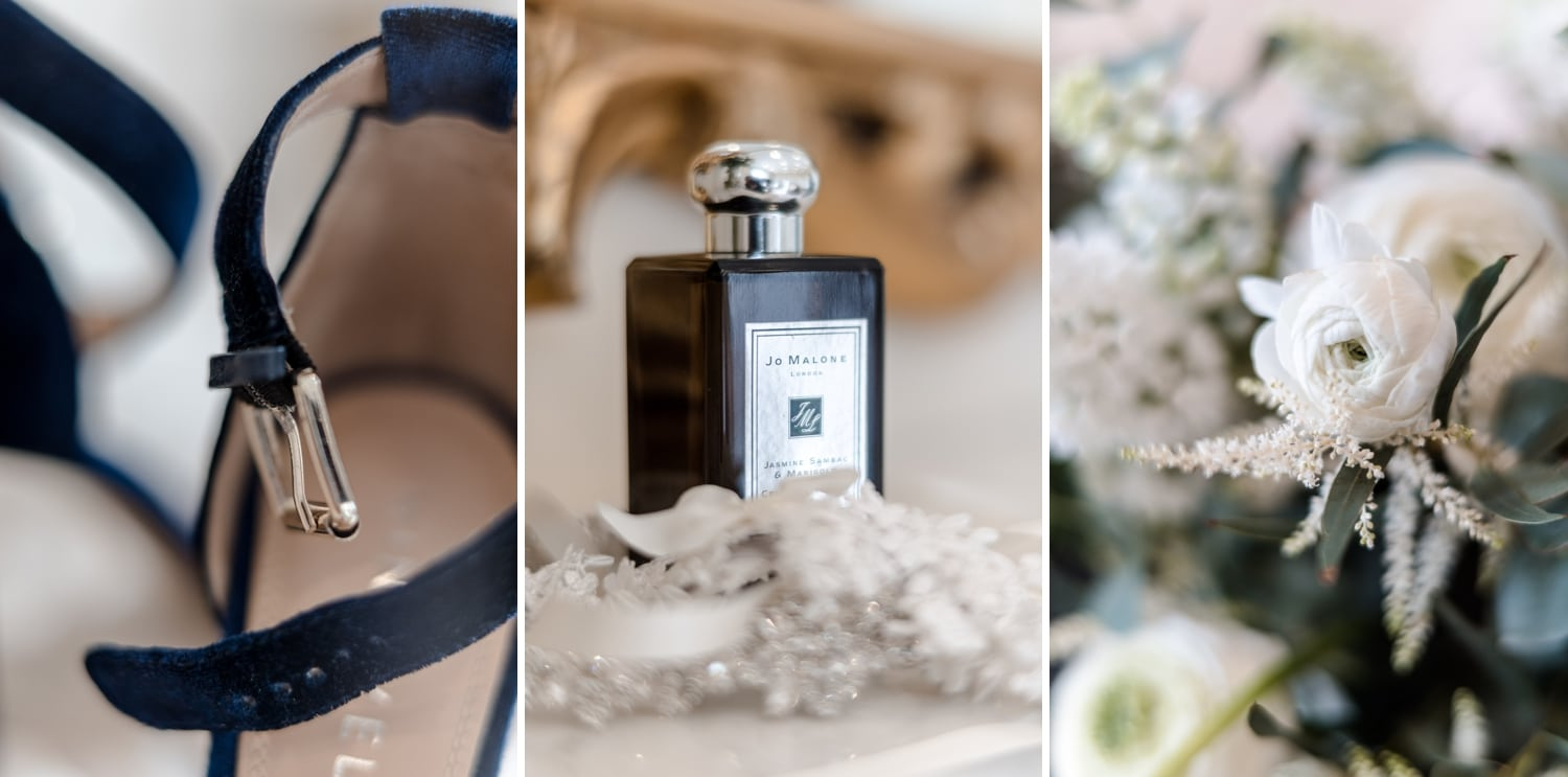 Bridal shoes, perfume and flowers