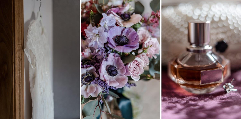 wedding dress, flowers and perfume