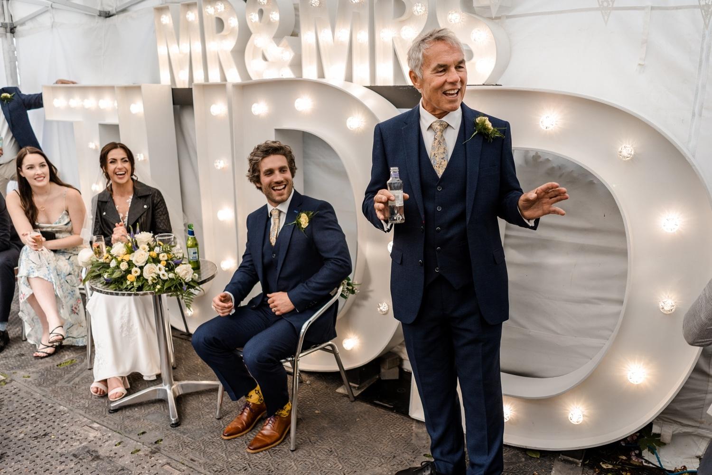 Back garden wedding reception