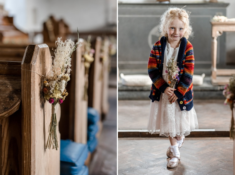 Flower girl and aisle flowers
