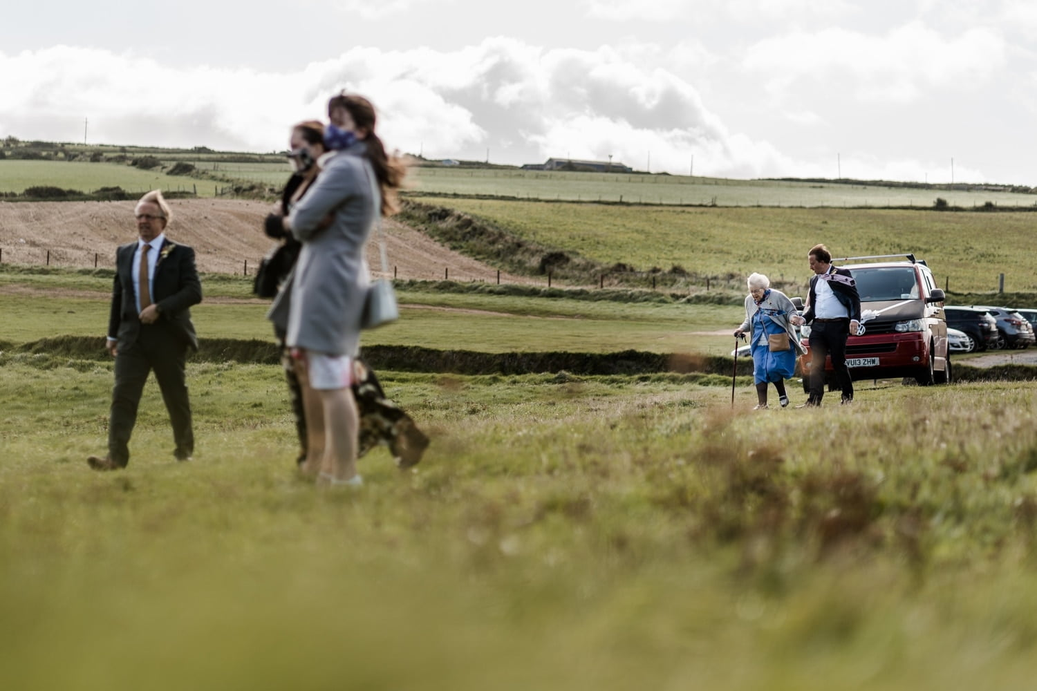 Guest arrive at Mwnt Church